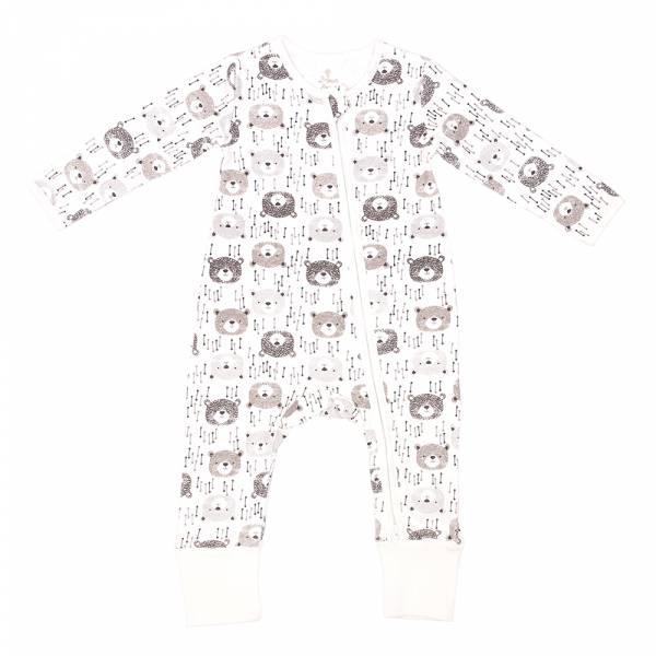有機棉雙拉鍊長袖連身衣-大頭熊熊 有機棉, 天然, 無毒 過敏 有機, 異位性皮膚炎, 新生兒, 嬰兒, 新生兒衣物, 嬰幼兒, 包屁衣, 竹纖維, 透氣, 汗疹
