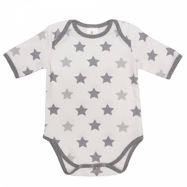 有機棉粉嫩彩色短袖包屁衣-灰星星 有機棉, 天然, 無毒 過敏 有機, 異位性皮膚炎, 新生兒, 嬰兒, 新生兒衣物, 嬰幼兒, 包屁衣, 竹纖維, 透氣, 汗疹