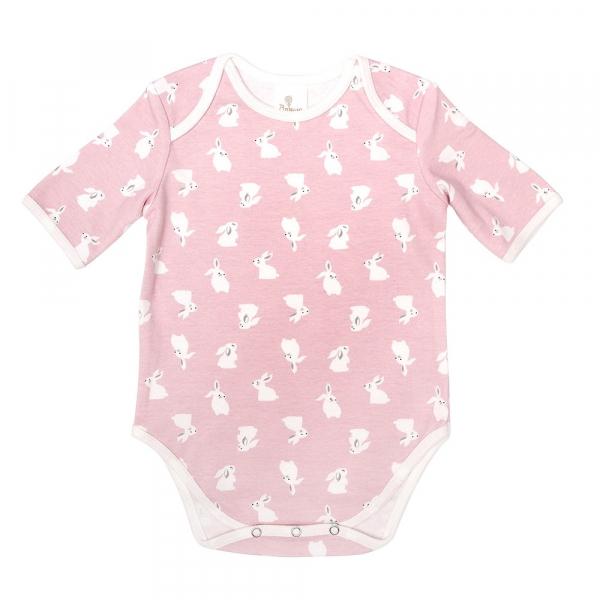 有機棉粉嫩彩色短袖包屁衣-粉紅兔 有機棉, 天然, 無毒 過敏 有機, 異位性皮膚炎, 新生兒, 嬰兒, 新生兒衣物, 嬰幼兒, 包屁衣, 竹纖維, 透氣, 汗疹