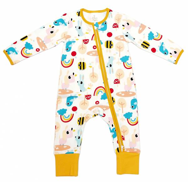 有機棉雙拉鍊長袖連身衣-森林派對 有機棉, 天然, 無毒 過敏 有機, 異位性皮膚炎, 新生兒, 嬰兒, 新生兒衣物, 嬰幼兒, 包屁衣, 竹纖維, 透氣, 汗疹