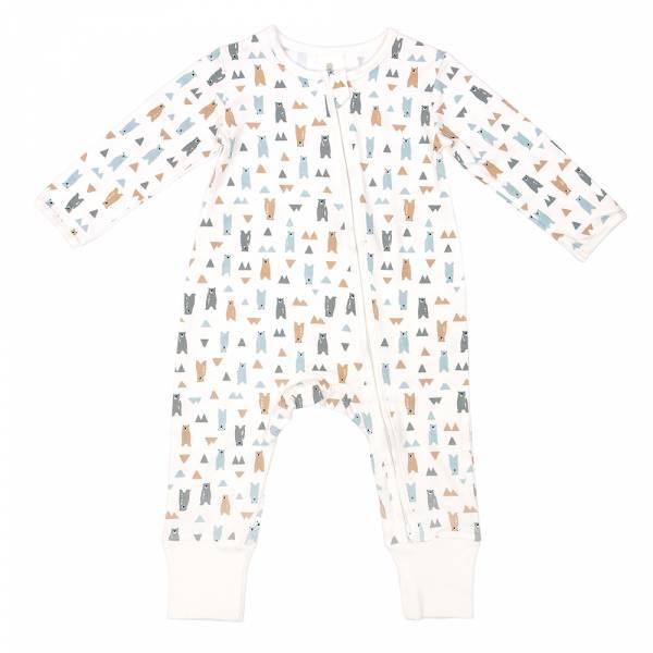 有機竹纖維雙拉鍊長袖連身衣-療癒北極熊 有機棉, 天然, 無毒 過敏 有機, 異位性皮膚炎, 新生兒, 嬰兒, 新生兒衣物, 嬰幼兒, 包屁衣, 竹纖維, 透氣, 汗疹