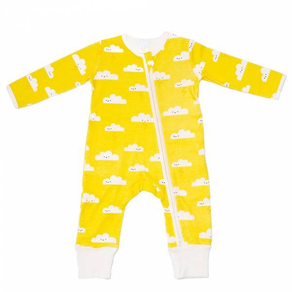 有機棉雙拉鍊長袖連身衣-黃色雲朵 有機棉, 天然, 無毒 過敏 有機, 異位性皮膚炎, 新生兒, 嬰兒, 新生兒衣物, 嬰幼兒, 包屁衣, 竹纖維, 透氣, 汗疹
