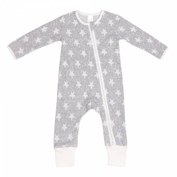 有機棉雙拉鍊長袖連身衣-灰星星 有機棉, 天然, 無毒 過敏 有機, 異位性皮膚炎, 新生兒, 嬰兒, 新生兒衣物, 嬰幼兒, 包屁衣, 竹纖維, 透氣, 汗疹