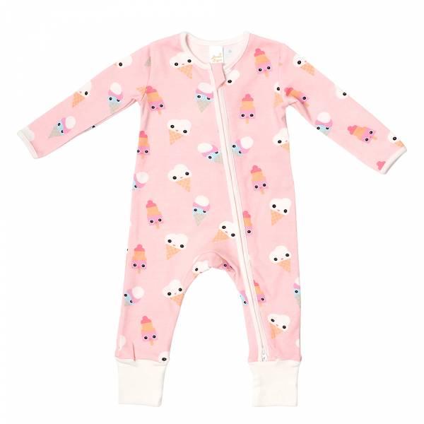 有機棉雙拉鍊長袖連身衣-粉紅冰淇淋 有機棉, 天然, 無毒 過敏 有機, 異位性皮膚炎, 新生兒, 嬰兒, 新生兒衣物, 嬰幼兒, 包屁衣, 竹纖維, 透氣, 汗疹