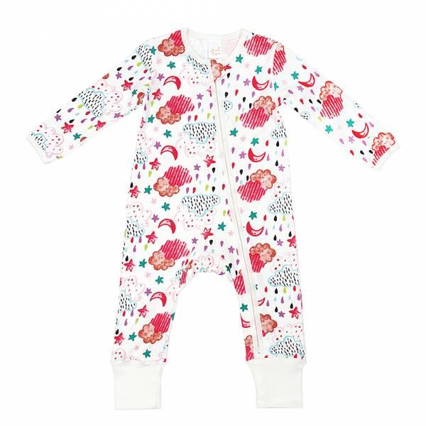 有機棉雙拉鍊長袖連身衣-粉紅天空 有機棉, 天然, 無毒 過敏 有機, 異位性皮膚炎, 新生兒, 嬰兒, 新生兒衣物, 嬰幼兒, 包屁衣, 竹纖維, 透氣, 汗疹