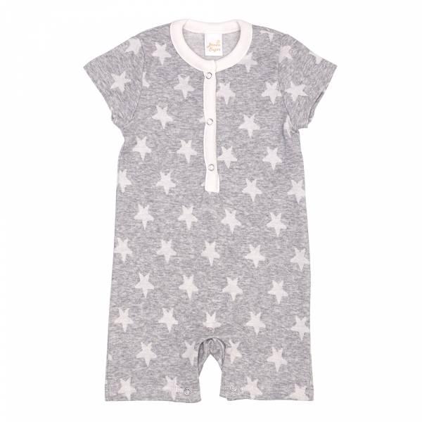 有機棉短袖連身衣-灰星星 有機棉, 天然, 無毒 過敏 有機, 異位性皮膚炎, 新生兒, 嬰兒, 新生兒衣物, 嬰幼兒, 包屁衣, 竹纖維, 透氣, 汗疹