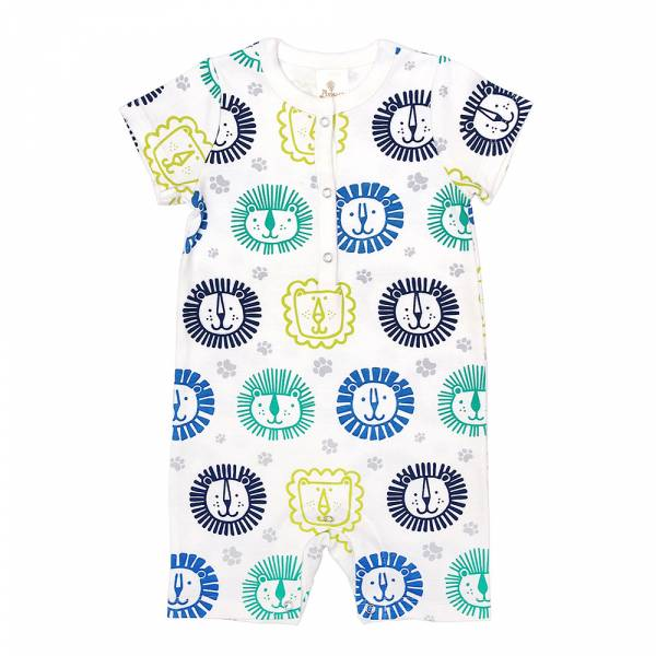 有機棉短袖連身衣-獅子王 有機棉, 天然, 無毒 過敏 有機, 異位性皮膚炎, 新生兒, 嬰兒, 新生兒衣物, 嬰幼兒, 包屁衣, 竹纖維, 透氣, 汗疹