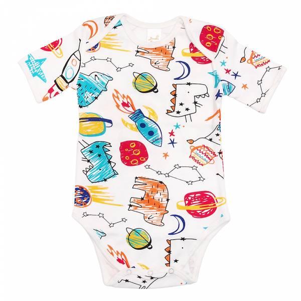 有機棉粉嫩彩色短袖包屁衣-小宇宙 有機棉, 天然, 無毒 過敏 有機, 異位性皮膚炎, 新生兒, 嬰兒, 新生兒衣物, 嬰幼兒, 包屁衣, 竹纖維, 透氣, 汗疹