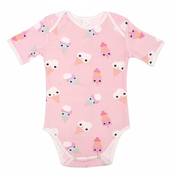 有機棉粉嫩彩色短袖包屁衣-粉紅冰淇淋 有機棉, 天然, 無毒 過敏 有機, 異位性皮膚炎, 新生兒, 嬰兒, 新生兒衣物, 嬰幼兒, 包屁衣, 竹纖維, 透氣, 汗疹