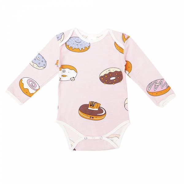 有機棉長袖包屁衣-熊貓甜甜圈(粉紅) 有機棉, 天然, 無毒 過敏 有機, 異位性皮膚炎, 新生兒, 嬰兒, 新生兒衣物, 嬰幼兒, 包屁衣, 竹纖維, 透氣, 汗疹