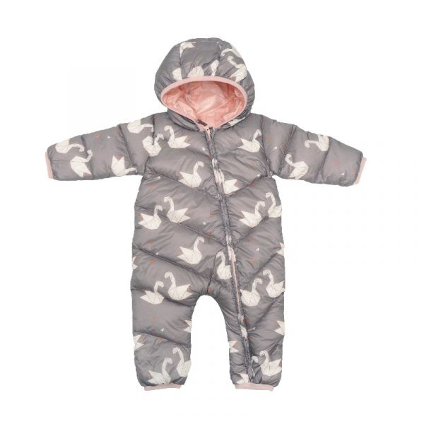 嬰兒羽絨連身衣-粉彩天鵝 羽絨連身衣,極致保暖,對抗寒冬,親膚柔軟,可愛花色,內裡含100%鵝絨,溫暖紮實,穿脫方便,照顧寶寶