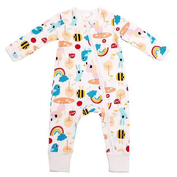 有機棉雙拉鍊長袖連身衣-森林派對(白) 有機棉, 天然, 無毒 過敏 有機, 異位性皮膚炎, 新生兒, 嬰兒, 新生兒衣物, 嬰幼兒, 包屁衣, 竹纖維, 透氣, 汗疹