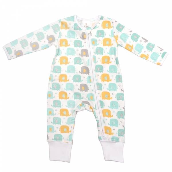 有機棉雙拉鍊長袖連身衣-大象樂園 有機棉, 天然, 無毒 過敏 有機, 異位性皮膚炎, 新生兒, 嬰兒, 新生兒衣物, 嬰幼兒, 包屁衣, 竹纖維, 透氣, 汗疹