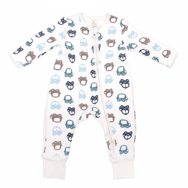 加厚鋪棉雙拉鍊連身衣-汽車總動員 有機棉, 天然, 無毒 過敏 有機, 異位性皮膚炎, 新生兒, 嬰兒, 新生兒衣物, 嬰幼兒, 包屁衣, 竹纖維, 透氣, 汗疹