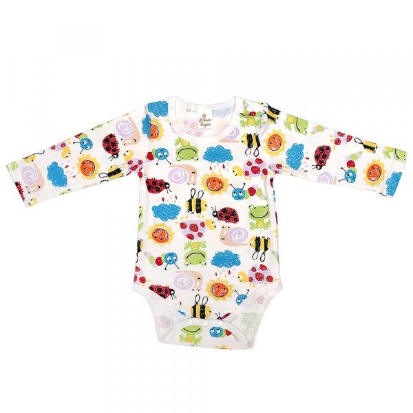 有機棉長袖包屁衣-小蜜蜂 有機棉, 天然, 無毒 過敏 有機, 異位性皮膚炎, 新生兒, 嬰兒, 新生兒衣物, 嬰幼兒, 包屁衣, 竹纖維, 透氣, 汗疹