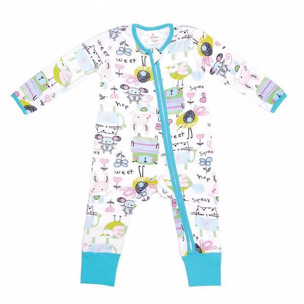 有機棉雙拉鍊長袖連身衣-Squeak Squeak 有機棉, 天然, 無毒 過敏 有機, 異位性皮膚炎, 新生兒, 嬰兒, 新生兒衣物, 嬰幼兒, 包屁衣, 竹纖維, 透氣, 汗疹