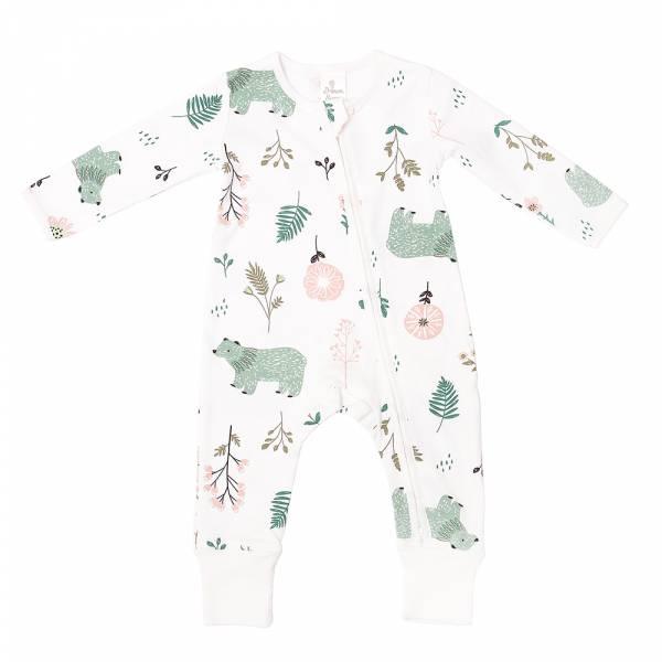 有機棉雙拉鍊長袖連身衣-花園熊熊 有機棉, 天然, 無毒 過敏 有機, 異位性皮膚炎, 新生兒, 嬰兒, 新生兒衣物, 嬰幼兒, 包屁衣, 竹纖維, 透氣, 汗疹