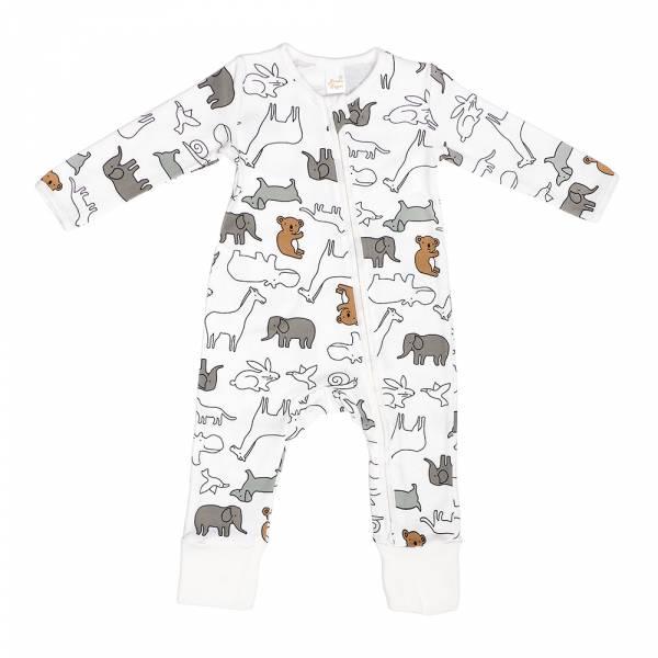 有機棉雙拉鍊長袖連身衣-無尾熊 有機棉, 天然, 無毒 過敏 有機, 異位性皮膚炎, 新生兒, 嬰兒, 新生兒衣物, 嬰幼兒, 包屁衣, 竹纖維, 透氣, 汗疹