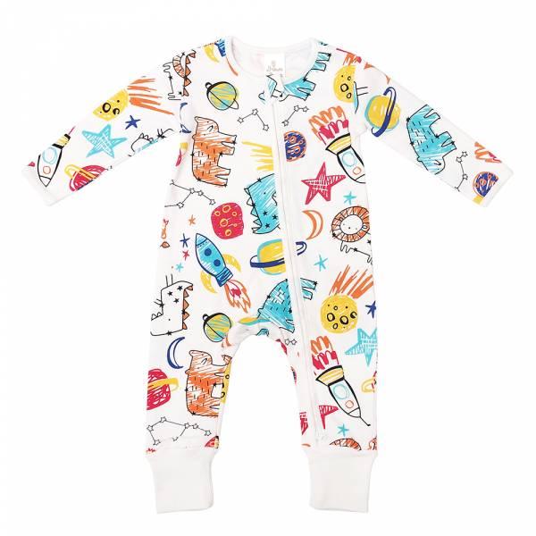 有機棉雙拉鍊長袖連身衣-小宇宙 有機棉, 天然, 無毒 過敏 有機, 異位性皮膚炎, 新生兒, 嬰兒, 新生兒衣物, 嬰幼兒, 包屁衣, 竹纖維, 透氣, 汗疹