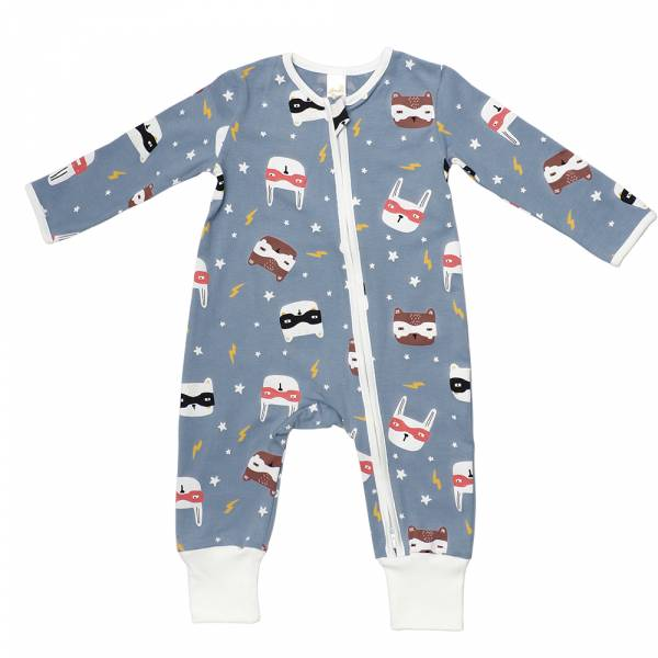 有機竹纖維雙拉鍊長袖連身衣-閃電貓 有機棉, 天然, 無毒 過敏 有機, 異位性皮膚炎, 新生兒, 嬰兒, 新生兒衣物, 嬰幼兒, 包屁衣, 竹纖維, 透氣, 汗疹