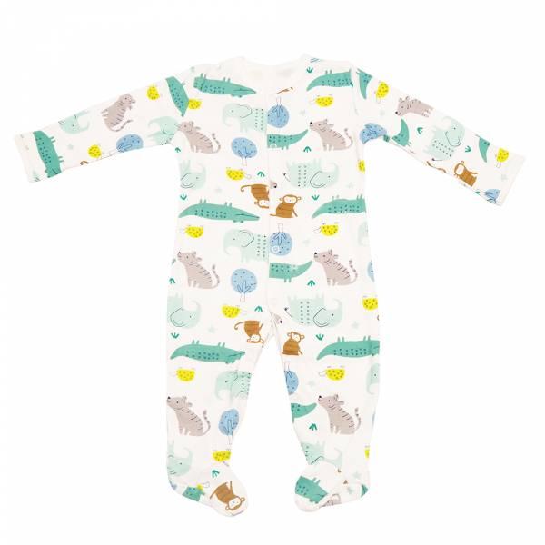 有機棉包腳連身衣-動物樂園 有機棉, 天然, 無毒 過敏 有機, 異位性皮膚炎, 新生兒, 嬰兒, 新生兒衣物, 嬰幼兒, 包屁衣, 竹纖維, 透氣, 汗疹