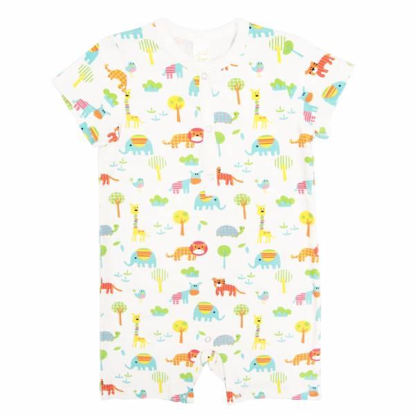有機棉短袖連身衣-繽紛動物 有機棉, 天然, 無毒 過敏 有機, 異位性皮膚炎, 新生兒, 嬰兒, 新生兒衣物, 嬰幼兒, 包屁衣, 竹纖維, 透氣, 汗疹