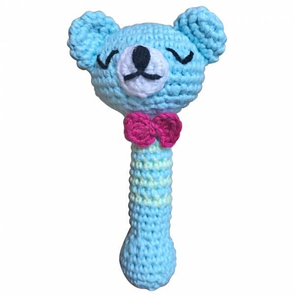 【NEW】頂級手工針織有機棉寶寶手搖鈴-粉藍熊熊 加拿大有機棉和竹纖維第一童裝品牌,通過國際最高標準有機認證「GOTS」和「OCIA」。100%透氣無毒,對於受濕疹、異位性(過敏性)皮膚炎、呼吸道問題、換季不適等困擾的嬰幼兒最安心