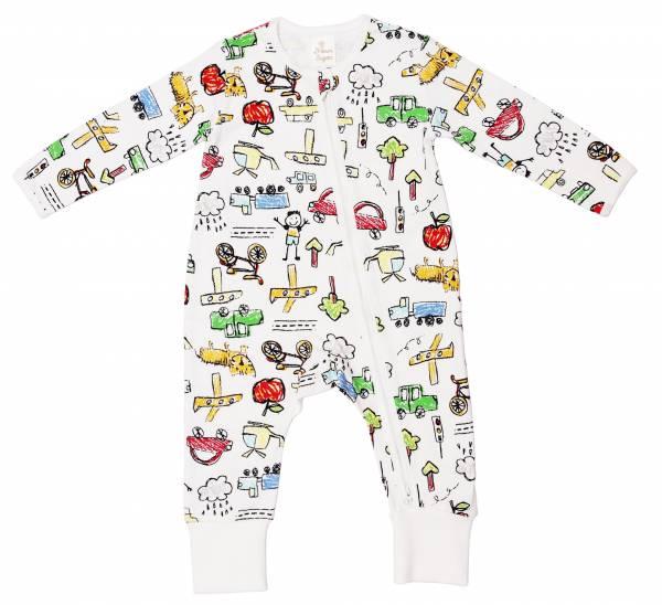 有機棉雙拉鍊長袖連身衣-童趣塗鴉 有機棉, 天然, 無毒 過敏 有機, 異位性皮膚炎, 新生兒, 嬰兒, 新生兒衣物, 嬰幼兒, 包屁衣, 竹纖維, 透氣, 汗疹