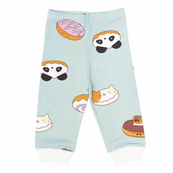 有機棉嬰兒長褲-熊貓甜甜圈(粉綠) 有機棉, 天然, 無毒 過敏 有機, 異位性皮膚炎, 新生兒, 嬰兒, 新生兒衣物, 嬰幼兒, 包屁衣, 竹纖維, 透氣, 汗疹