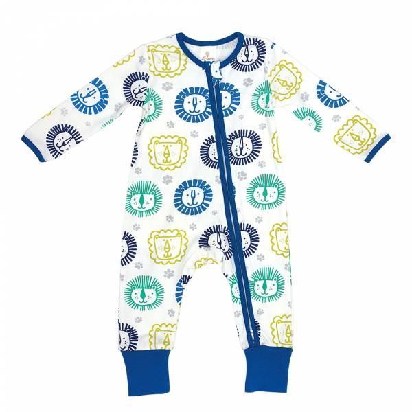 有機棉雙拉鍊長袖連身衣-Sunshine獅子 有機棉, 天然, 無毒 過敏 有機, 異位性皮膚炎, 新生兒, 嬰兒, 新生兒衣物, 嬰幼兒, 包屁衣, 竹纖維, 透氣, 汗疹