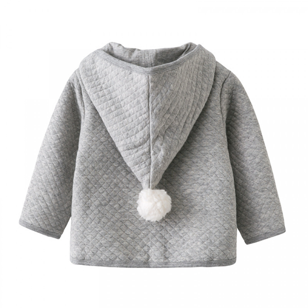 有機夾棉外套-灰帽帽 加拿大有機棉和竹纖維第一童裝品牌,通過國際最高標準有機認證「GOTS」和「OCIA」。100%透氣無毒,對於受濕疹、異位性(過敏性)皮膚炎、呼吸道問題、換季不適等困擾的嬰幼兒最安心。