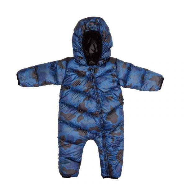 嬰兒羽絨連身衣-深藍迷彩 羽絨連身衣,極致保暖,對抗寒冬,親膚柔軟,可愛花色,內裡含100%鵝絨,溫暖紮實,穿脫方便,照顧寶寶
