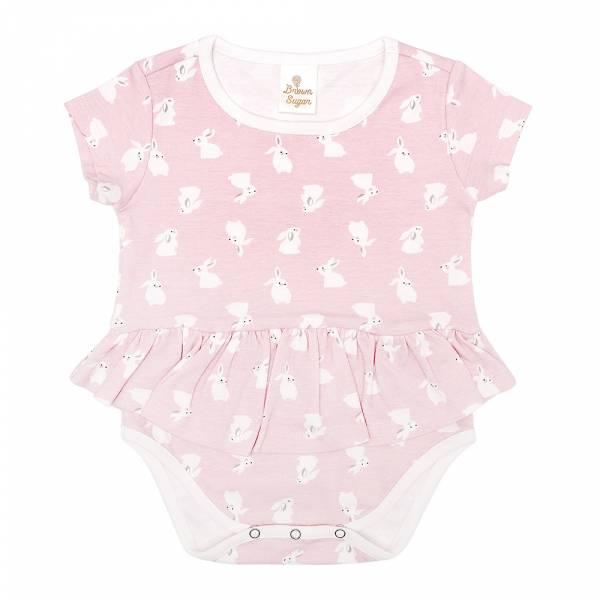 有機棉粉嫩彩色洋裝式包屁衣-粉紅兔 有機棉, 天然, 無毒 過敏 有機, 異位性皮膚炎, 新生兒, 嬰兒, 新生兒衣物, 嬰幼兒, 包屁衣, 竹纖維, 透氣, 汗疹