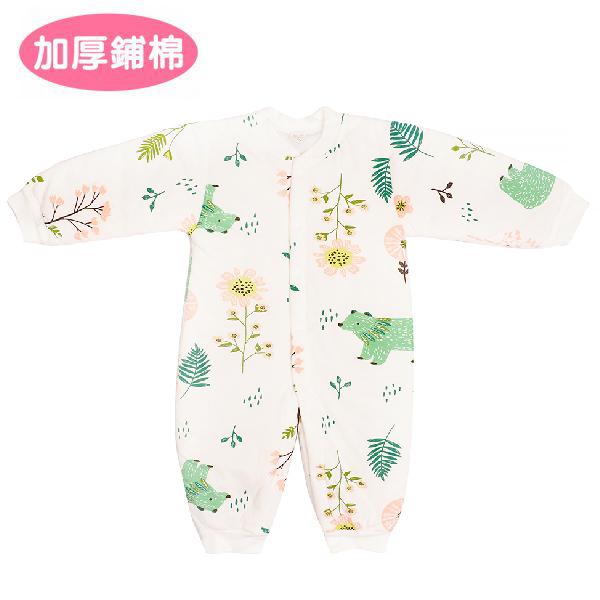 加厚鋪棉連身衣-花園熊熊 有機棉, 天然, 無毒 過敏 有機, 異位性皮膚炎, 新生兒, 嬰兒, 新生兒衣物, 嬰幼兒, 包屁衣, 竹纖維, 透氣, 汗疹