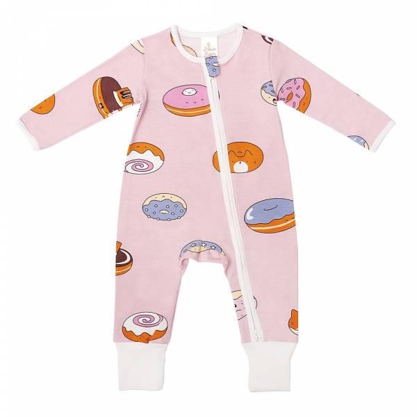 有機棉雙拉鍊長袖連身衣-熊貓甜甜圈(粉紅) 有機棉, 天然, 無毒 過敏 有機, 異位性皮膚炎, 新生兒, 嬰兒, 新生兒衣物, 嬰幼兒, 包屁衣, 竹纖維, 透氣, 汗疹