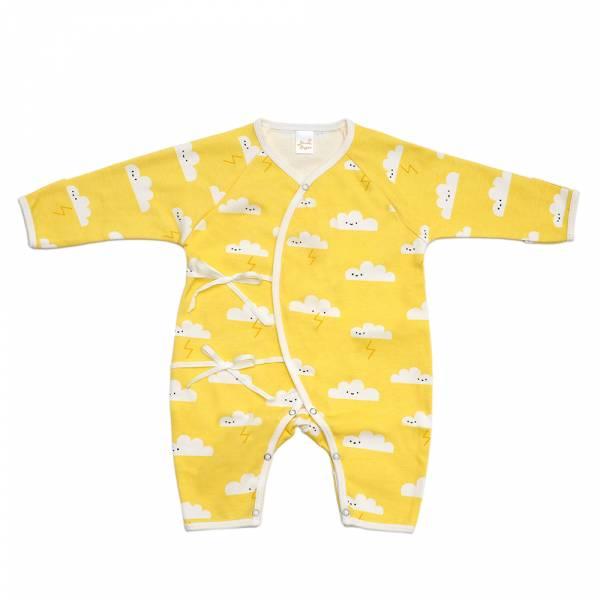 新生兒有機棉和尚服-黃色雲朵 有機棉,天然無毒 不過敏 有機, 異位性皮膚炎, 新生兒, 嬰兒, 新生兒衣物, 嬰幼兒, 和尚服,透氣,汗疹,0-6個月