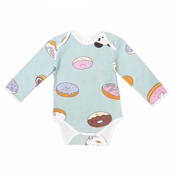 有機棉長袖包屁衣-熊貓甜甜圈(粉綠) 有機棉, 天然, 無毒 過敏 有機, 異位性皮膚炎, 新生兒, 嬰兒, 新生兒衣物, 嬰幼兒, 包屁衣, 竹纖維, 透氣, 汗疹