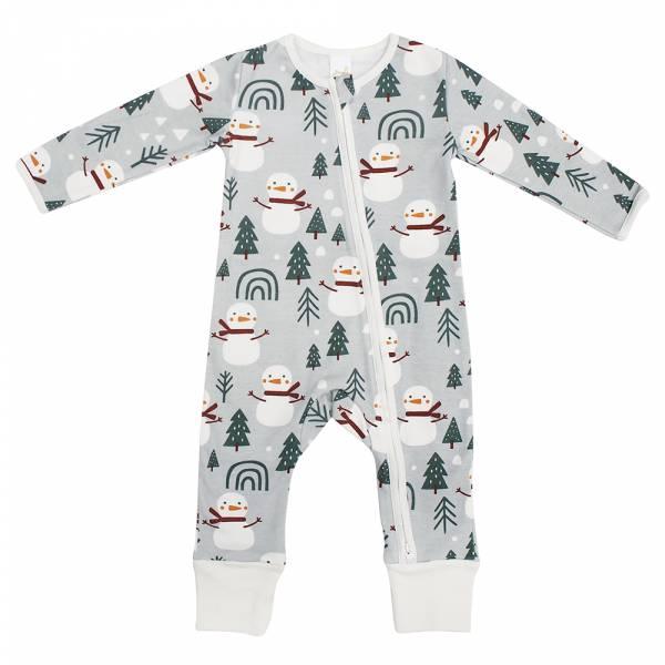 有機棉雙拉鍊長袖連身衣-雪人來了 有機棉, 天然, 無毒 過敏 有機, 異位性皮膚炎, 新生兒, 嬰兒, 新生兒衣物, 嬰幼兒, 包屁衣, 竹纖維, 透氣, 汗疹