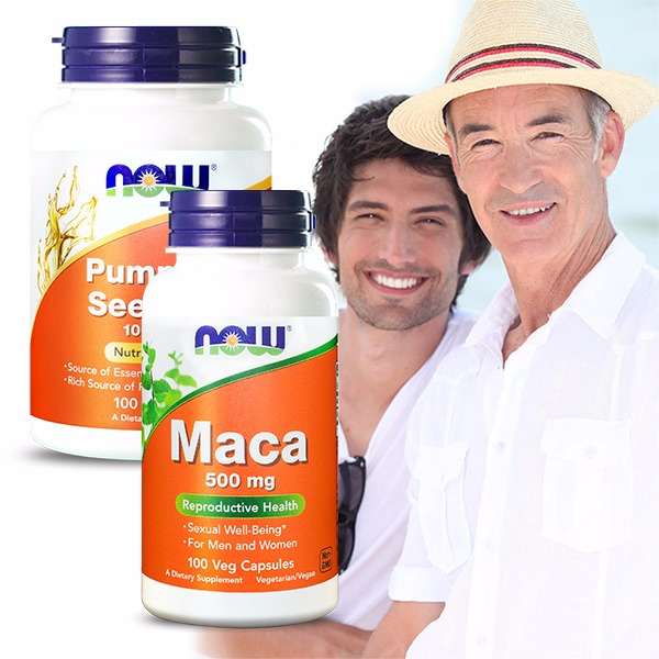 NOW健而婷 威風順暢套組(瑪卡MACA+南瓜籽油) 瑪卡,南瓜籽油,壯陽