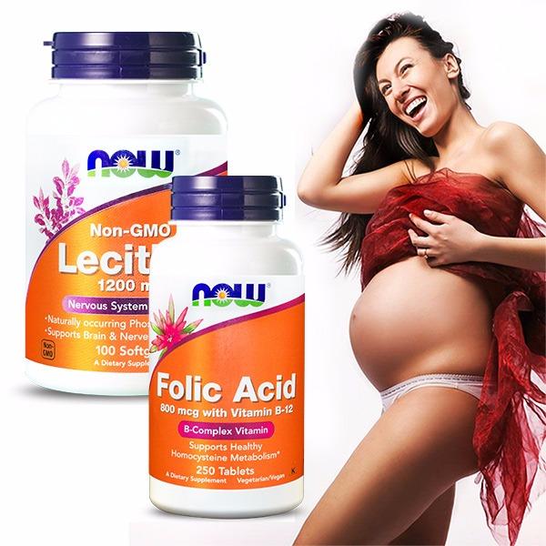 NOW健而婷 孕媽咪套組(孕寶錠+卵磷脂) B12,葉酸,卵磷脂