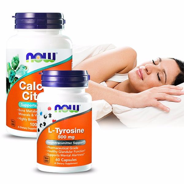 NOW健而婷 淡定套組(檸檬酸鈣+酪胺酸) 加強鈣,酪胺酸,失眠