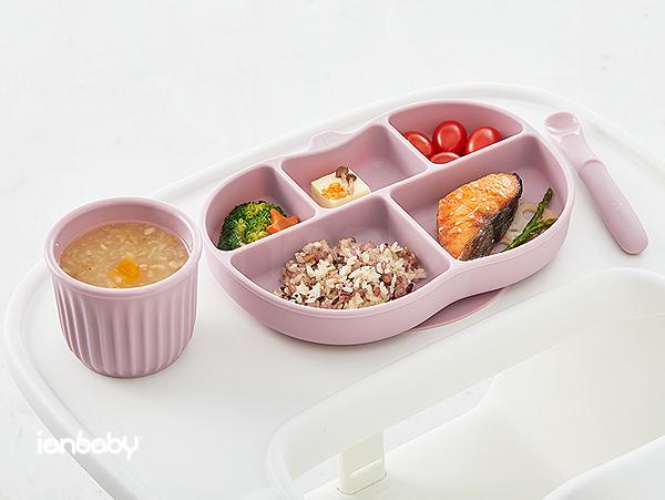 ianbaby®頂級鉑金矽膠吸附學習餐盤 (櫻桃乳酪)