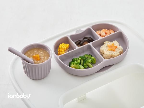 ianbaby®頂級鉑金矽膠吸附學習餐盤 (紫芋玫瑰)