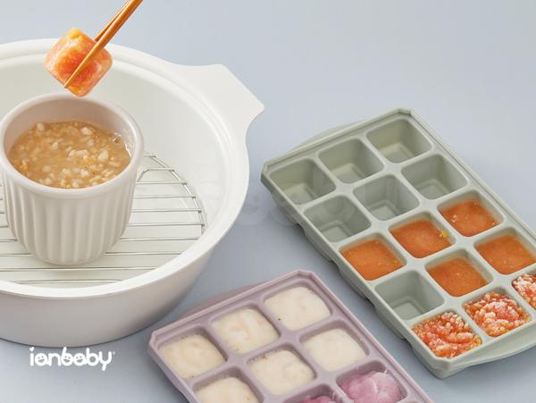ianbaby®頂級鉑金矽膠多功能食品分裝盒-15格附蓋 (抹茶玉露)