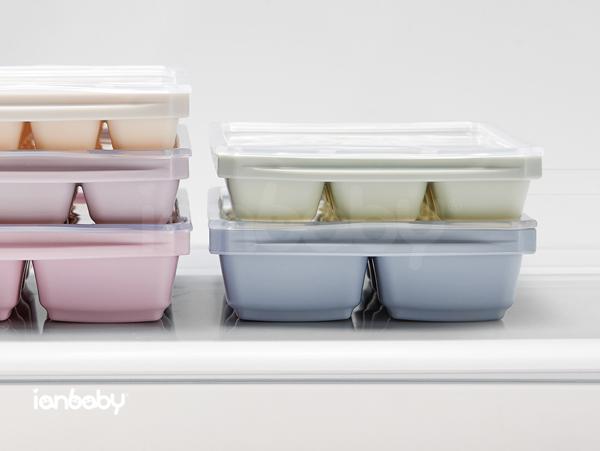 ianbaby®頂級鉑金矽膠多功能食品分裝盒-8格附蓋 (藍莓優格)