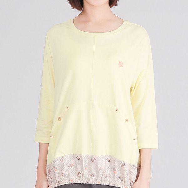 有機棉拼接七分袖圓領衫(女)-嫩黃