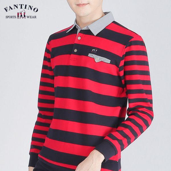POLO衫(男)-深藍紅條