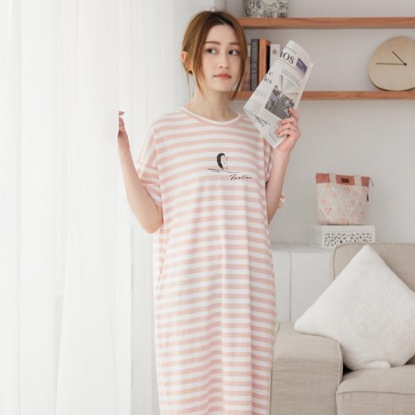 美膚膠原蛋白條紋口袋家居服連身裙/居家服-條紋粉 睡衣,家居服,居家服,舒服的睡衣,美膚睡衣,膠原蛋白睡衣,fantino睡衣