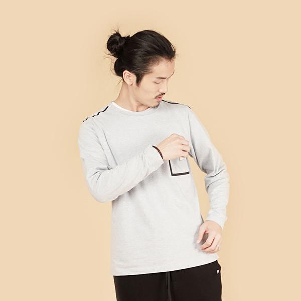 有機棉拼接口袋針織棉衫(男)-淺藍