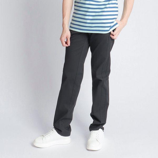 埃及棉休閒棉褲(男)-黑印細條